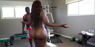Workout training with two big booty women