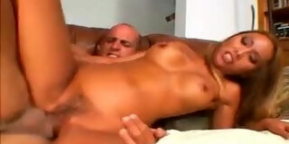 Asian takes fat cock in Pussy and Ass