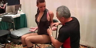 Girl tied and struggles at convention two