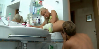 Blonde with an amazing body gets piunded hard in the bathroom